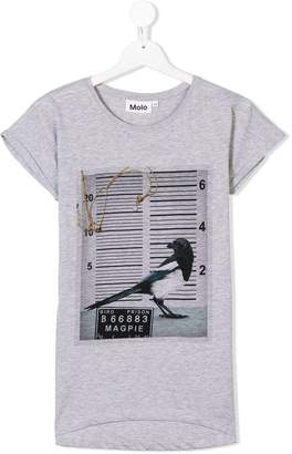 Molo TEEN magpie mugshot print T-shirt