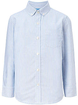 John Lewis Heirloom Collection Boys' Stripe Oxford Shirt, Blue