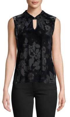 Tommy Hilfiger Sleeveless Velvet Floral Twist-Neck Top