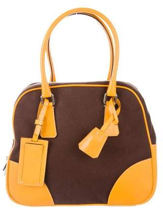Prada Patent Leather-Trimmed Canvas Tote