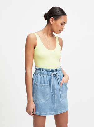 Miss Selfridge Light Blue Denim Elastic Tie Waist Mini Skirt