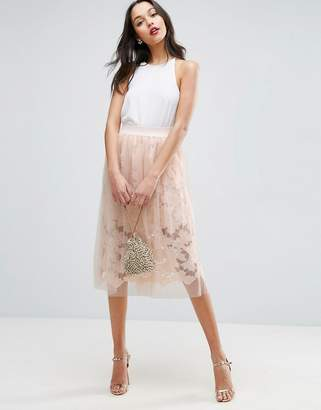 Asos Design Lace Prom Skirt with Tulle Overlay