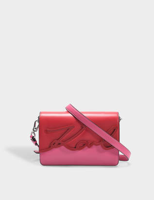 Karl Lagerfeld K/Signature Glaze Shoulder Bag in Azalea Smooth Calf Leather