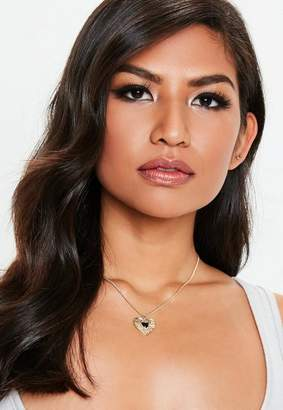 Missguided Gold Look Heart Ditsy Necklace
