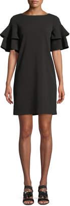 Iconic American Designer Tiered-Ruffle Short-Sleeve Shift Dress