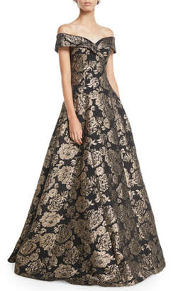 Rickie Freeman For Teri Jon Off-the-Shoulder Floral Jacquard Ball Gown