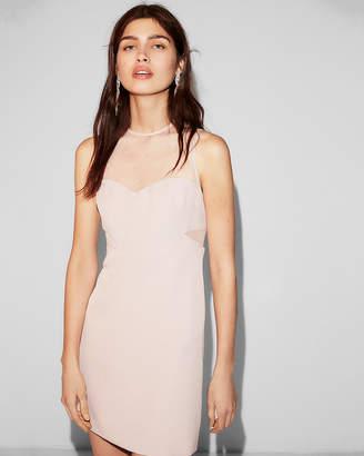 Express Petite Sheer Pieced Mini Dress