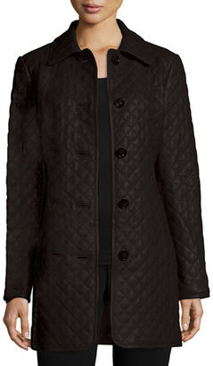 Neiman Marcus Long Quilted Leather Jacket $425 thestylecure.com