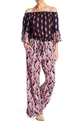 Raga Alice Mixed Print Off-the-Shoulder Jumpsuit