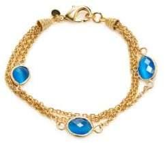 Rivka Friedman 18K Goldplated & Blue Cat's Eye Multi-Strand Bracelet