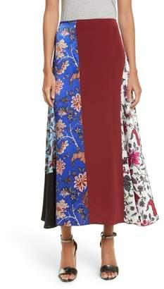 Diane von Furstenberg Draped Colorblock Silk Midi Skirt