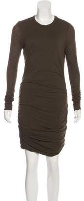 A.L.C. Long Sleeve Ruched-Accented Knee-Length Dress