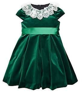 Luli and Me Little Girl's Lace-Collar Velvet Dress