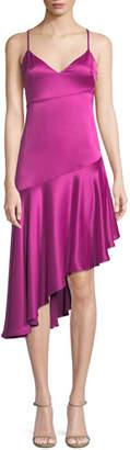 Misha Madelyn Asymmetric Sheen Slip Dress