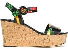 Dolce & Gabbana Printed Patent-Leather Wedge Platform Sandals