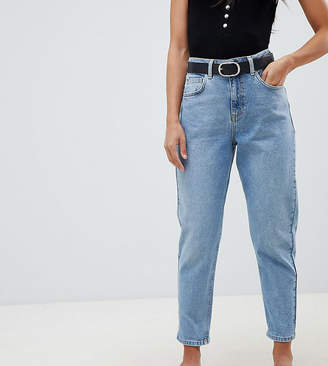 Miss Selfridge Petite High Waist Mom Jeans In Mid Wash