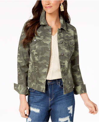 Style&Co. Style & Co Petite Cotton Camouflage Denim Jacket, Created for Macy's