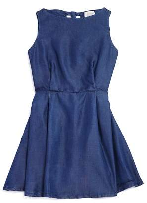 Armani Junior Girls' Sleeveless Denim Dress with Back Heart Cutouts - Big Kid