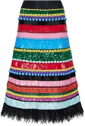 Alice + Olivia Merril Embellished Midi Skirt