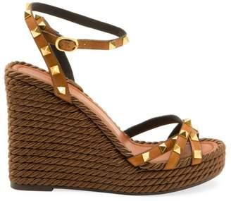 Valentino Rockstud Torchon Espadrille Wedge Sandals