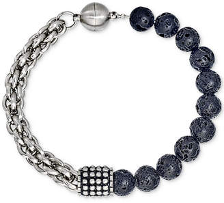 Esquire Men Jewelry Lava Bead Bracelet in Stainless Steel