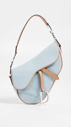 Christian Dior What Goes Around Comes Around Denim Saddle Bag