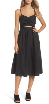 Women's Bardot Tie Front Midi Dress $109 thestylecure.com