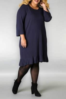 Yest Long Black Dress with Ruffle Hem