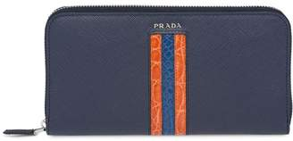 Prada Saffiano and Crocodile Leather Wallet