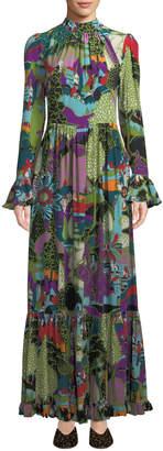 Double J Dragon-Flow Landscape-Print Long-Sleeve A-Line Maxi Dress