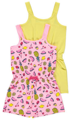 George Tropical Fruit Print Jersey Playsuits 2 Pack