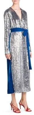 ATTICO Sequin& Velvet Midi Robe Dress