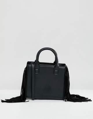 Bershka fringe black crossbody bag in black