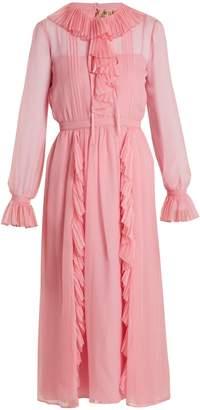 No.21 NO. 21 Ruffled-trimmed long-sleeved silk dress