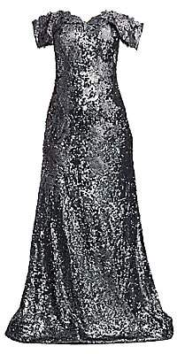 Rene Ruiz Collection Women's Off-The-Shoulder Embroidered Floral Sequin Gown