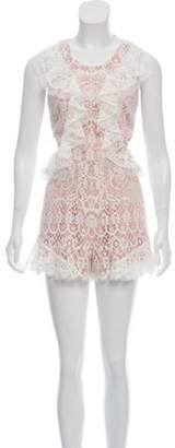 Alexis Cut-Out Lace-Trimmed Romper w/ Tags White Cut-Out Lace-Trimmed Romper w/ Tags