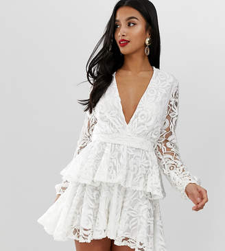 John Zack Petite allover lace plunge front skater dress in white 17a47ca3d