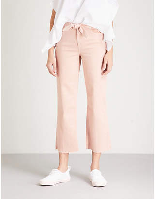 Paige Nellie flared high-rise stretch-denim culottes