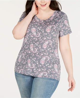 be7bca36f Lucky Brand Plus Size Floral-Print Burnout T-Shirt