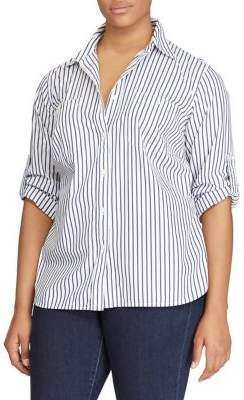 Lauren Ralph Lauren Plus Size Striped Cotton Pocket Shirt