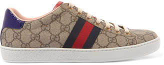 Gucci Ace Gg Supreme Metallic Watersnake-trimmed Logo-print Coated-canvas Sneakers - Beige