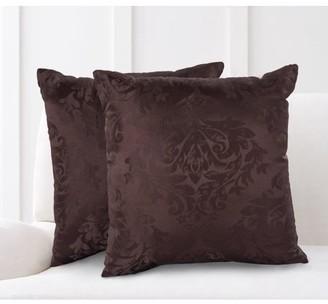 Mainstays Damask Jacquard Decorative Throw Pillow Set, 2pk ,Ivory