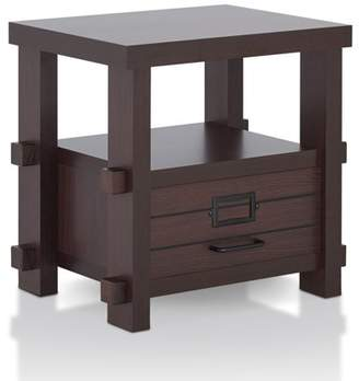 Aster Furniture of America Rustic End Table, Espresso