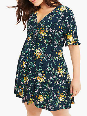 Oasis Curve Madeline Floral Dress, Multi Green