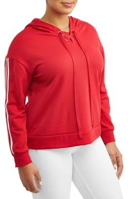 EYE CANDY Women's Plus Size Contrast Striping Lace-Up Hoodie