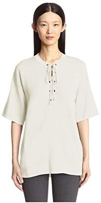 Society New York Women's Solid Lace Front Tunic Sweater