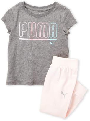 Puma Toddler Girls) Two-Piece Logo Tee & Jogger Pants Set