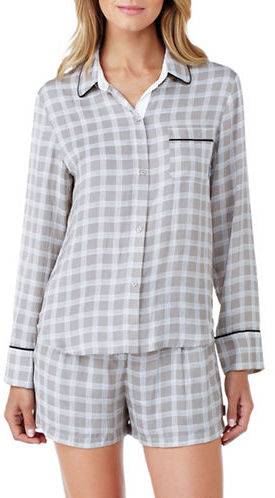 DKNY Dkny Checked Button-Down Pajamas