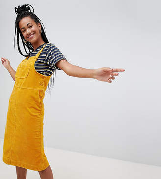 Monki cord midi pinny dress in yellow