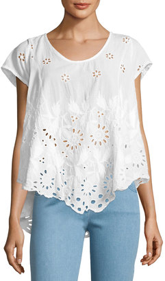 Johnny Was Jen Eyelet Flair Blouse, White $179 thestylecure.com